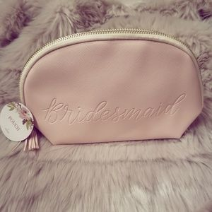 Nude Pink elegant bridesmaid makeup pouch